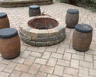 5 Firepit Stools (Stone).  upside down and they turn into a planter
