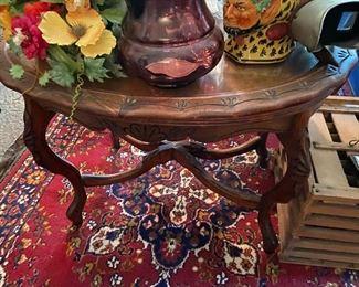 vintage side table, hand carved