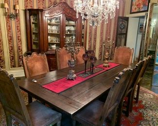 English solid oak table, 8 dining chairs early 1900's from Spain with original suede