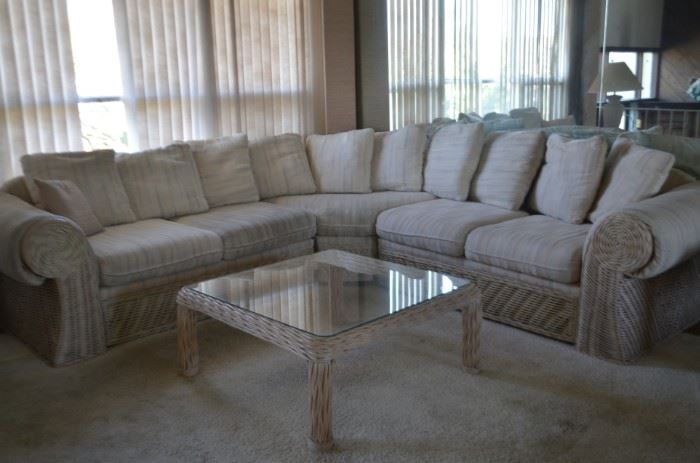 Rattan sectional sofa, coffee table and end table