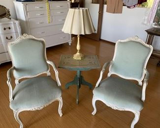 002m Upholstered Arm Chairs With Antique Painted Table