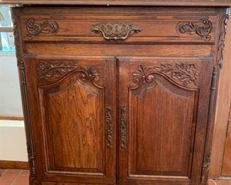027d Antique Wood Side Cabinet