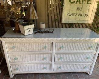 019p Wicker Double Dresser Vintage