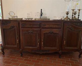 035d Vintage Wood Buffet or Side Board