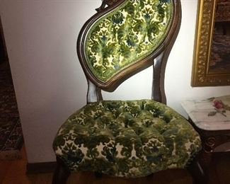 Pair Of Victorian Pelham Shell & Leckie Green Accent Chairs $450 each OBO