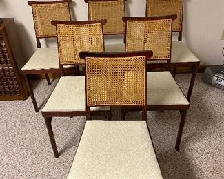 6 vintage Legomatic cane-back folding chairs. Pristine condition!