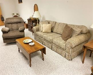 Older sofa. Maple drop-leaf coffee table. Like-new recliner.