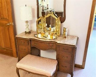 Drexel Vanity with marble top, mirror and stool