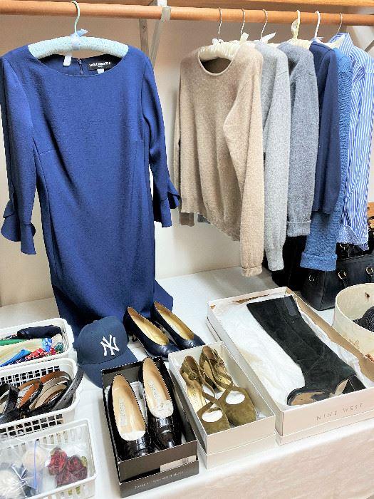 Karl Lagerfeld dress. Yves Saint Laurent shoes.