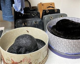 Fine leather handbags. Hats include one black mink.