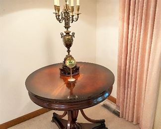 Widdicomb mahogany lamp table. Large vintage French candelabra lamp.