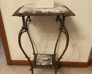 Marble and iron plant stand