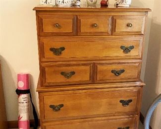 Vintage maple chest of drawers. Yoga mat!