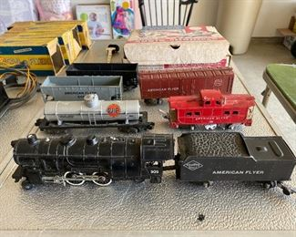 Vintage Gilbert American Flyer train engines, cars-some with original boxes, transformers and track.