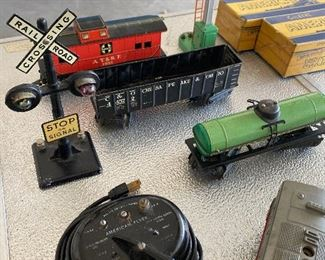 All metal Marx cars.  Green Lionel signal.