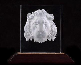 Steuben Regal Lion with Base