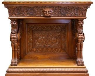 Horner Brothers Mahogany Console with Griffins
