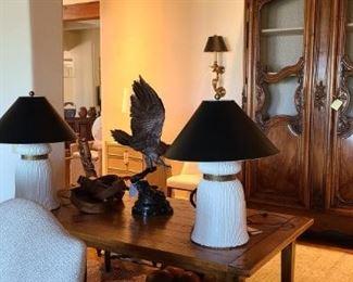 Midcentury Chapman tassel lamps.