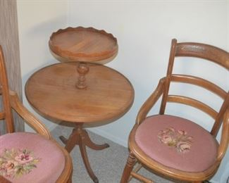 SWEET NEEDLEPOINT CHAIRS AND TIER TABLE