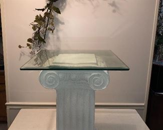 """Pedestal with Beveled Glass Top .. used as a Night Stand  24"""" h X 16"""" w X  11 1/2"""" d Beveled Glass Top  20 1/2 """" square"""