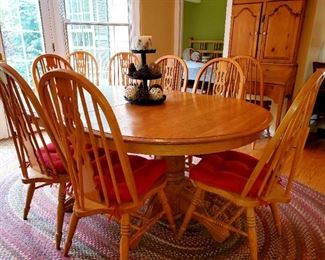 Oak Kitchen table, 2 leaves,  6 chairs,  6 extra chairs available