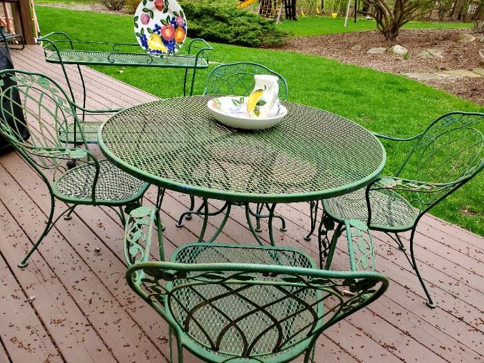 Wrought Iron, patio table w/chairs, tea cart