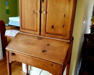 Vintage pine desk,  with hutch