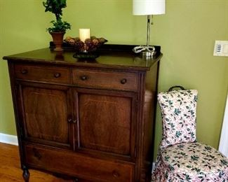 Antique, chest,  opens to 3 drawers inside
