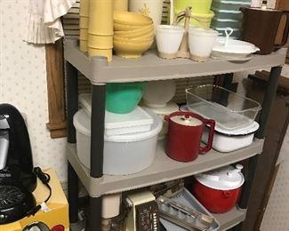 Tupperware, enamelware, refrigerator dish, salad spinner, Bundt pan, food processor, meat grinder, vintage ice trays
