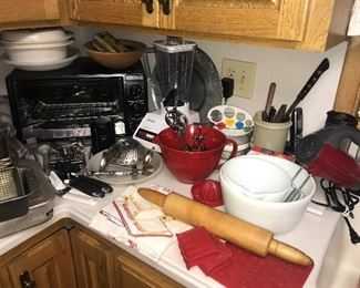 Toaster oven, hand mixer, blender, mixing bowls, rolling pin and more