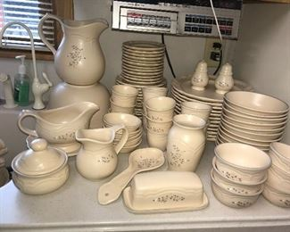 Pfaltzgraff Remembrance place settings for 16, butter dish, pitchers, vase, salt and pepper, spoon rests, custard cups, dessert dishes