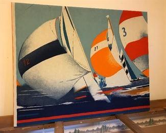 Large retro Klaus Heider fabric Sailboat wall hanging