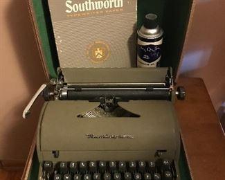 Remington typewriter with carrying case