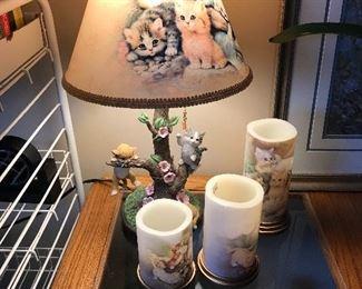 Bradford Exchange Country Kitties table lamp, cat/kitten candles