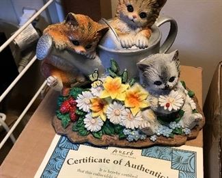 Seasons In The Garden Hand-Painted Cat Sculpture Bradford Exchange