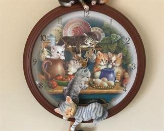 Kitchen Capers Cat Kitten clock