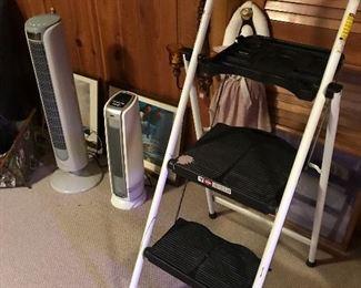 Step ladder, heater, fan