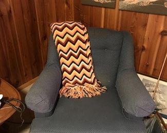 Chair, crocheted throw