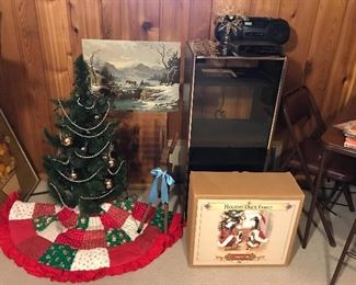 Stereo cabinet, boom box, Christmas