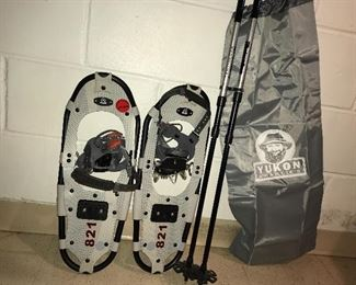 Snowshoes, poles, carrying bag