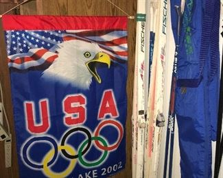 Salt Lake Olympic flag, Nordic boots, cross country skis