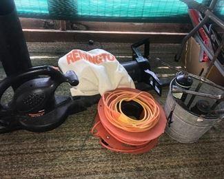 Remington blower, galvanized bucket, tire irons, extension cord