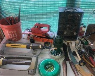 Sprinklers, hardware, garden tools, hand tools