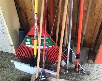 Rakes, shovels,  brooms