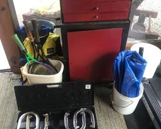 Two piece Toolbox, horseshoes, tennis racquets, tarp