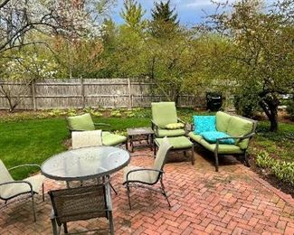 Patio table w/ 4 chairs, patio set with love seat, chairs, side tables