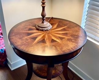 Wooden side table, stained glass table lamp