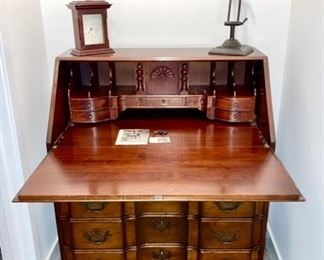 PRE-SALE AVAILABLE: Vintage John Goddard Desk drop front desk, Maddox Table Company (drop front view)