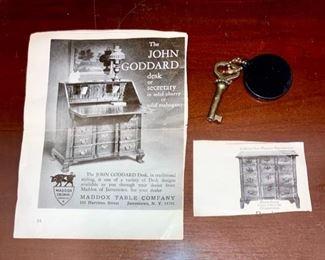 PRE-SALE AVAILABLE: Vintage John Goddard Desk drop front desk, Maddox Table Company (w/ key & paperwork)