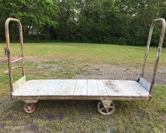 Large Vintage Railroad Cart w/ metal casters